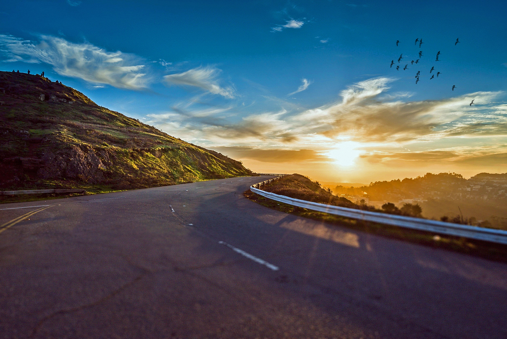 清路 路 旅行 日出 景观 自然 曲线 路边 景区 缠绕 沥青 农村 夏天 现场