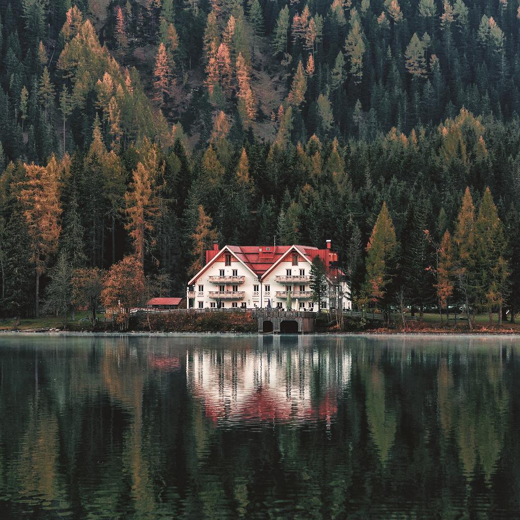 湖边的白房子和红房子