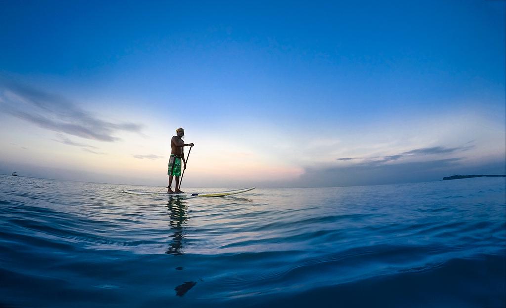 站在白色划桨板上的人在蓝天下把持着水上的桨